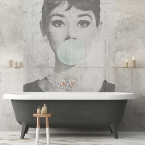 Mock up poster in the bathroom in a vintage style. Trend color. 3d.