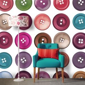 Contemporary colourful interior, yellow brick wall, armchair