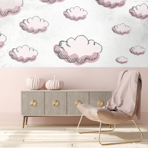 Romantic interior in pastel pink color decorated with pink pumpkins and heart, 3d render