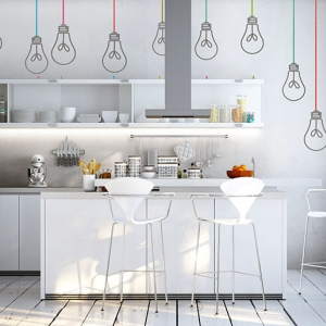 schlichte weiße küche in Altbau Loft Apartment