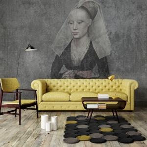 Mock up poster with vintage hipster loft interior background, 3D render