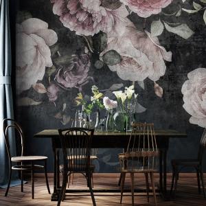 Home interior, luxury modern dark living room interior, black empty wall mock up, 3d render