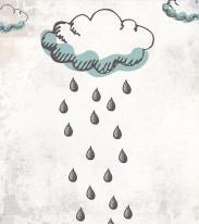 Fototapeta Young 253 - rysowane chmury, deszcz, krople,