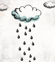 Fototapeta Young 255 - chmurki, deszcz, szkice na ścianie, rysunek