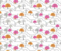 Fototapeta Young 100 - Drzewka , Kraczki , Rysowane , Różowe , Pomarańczowe