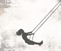 Fototapeta Young 113 - Huśtawka , Dziewczynka , Szarości , Dziewczyna na huśtawce