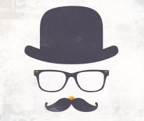 Fototapeta Young 119 - Mustache , Wąsy , Rayban , Melonik , Hipster