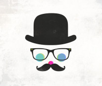 Fototapeta Young 2 - pan hispter, melonik, wąsy, mustache