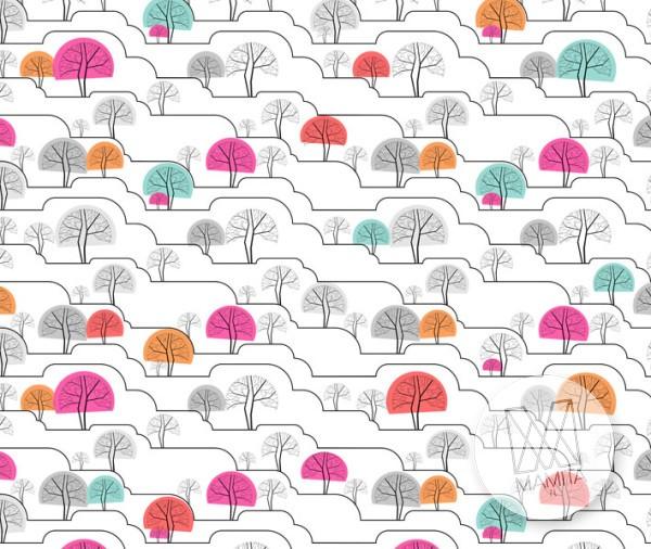 Fototapeta Young 34 - drzewa, drzewka, roślinność, pagórki, wzgórza