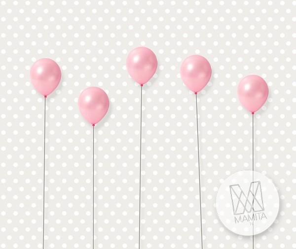 Fototapeta Junior 18 – baloniki różowe, szarek groszki, kropki