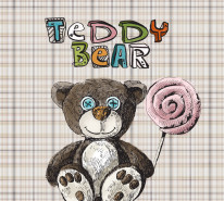 Fototapeta Junior 68 – teddy bear, miś pluszowy, uszatek krata