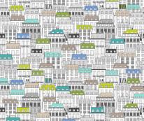 Fototapeta Junior 83 – kolorowe domki, uliczki, szkice na ścianie
