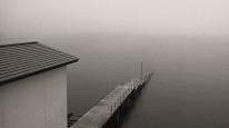 Fototapeta Salon 275 - most, jezioro, mgła