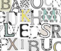Fototapeta NAPISY 42 - Różnorodne literki , litery , wzory , zimne kolory
