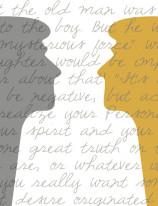 Fototapeta NAPISY 50 - Napisy , teksty , głowy , szare , żółte