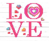 Fototapeta NAPISY 83 - Duży napis LOVE, różowy, deski w tle
