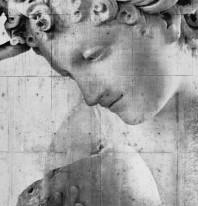 Fototapeta Salon 1 - Czarno biała rzeźba , beton , ściana , tło , twarz ,