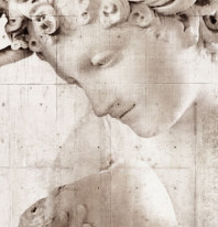 Fototapeta Salon 11 - Rzeźba , Twarz , Betonowe Tło , Sepia
