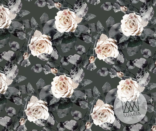 Fototapeta Salon 24 - Białe Róże , ilustracja , rysunek , ciemne , zimne kwiaty