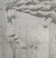 Fototapeta Salon 61 - Rzeźba , Betonowa , Twarz , Szara tonacja
