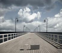 Fototapeta Salon 67 - Molo , morze , burza , pochmurne niebo