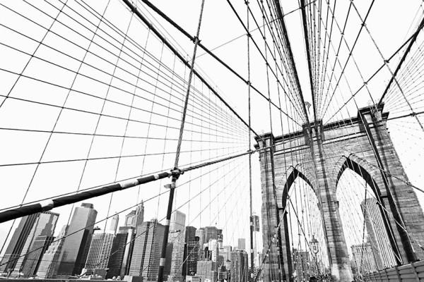 Fototapeta Salon 72 - Manhatan bridge, czarno białe, most, nowy york