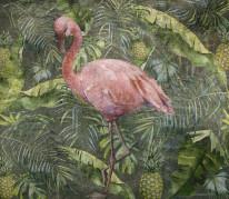 palma, wiosna, flaming, różowy ptak, zielone liście, tropiki, ananas