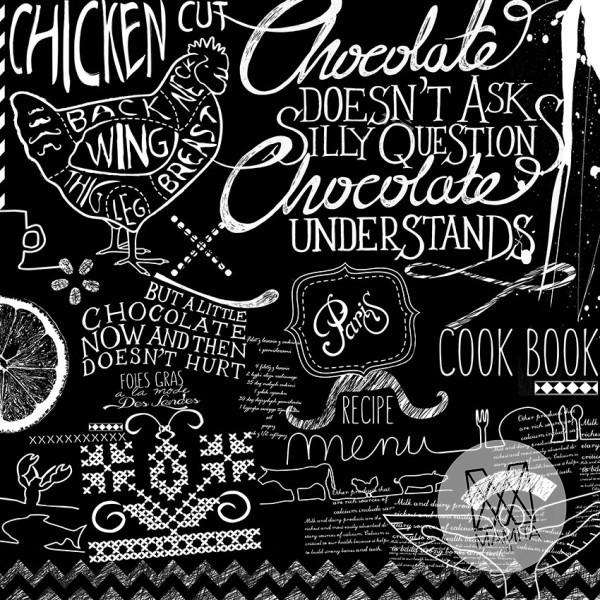 Fototapeta do kuchni 1 - napisy, teksty, wzory, czarne tło