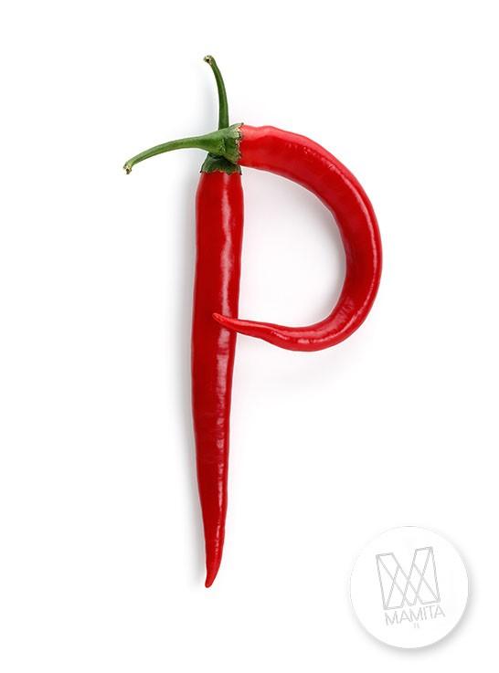 Fototapeta do kuchni 100 - litera P, papryczki czerwone, chili