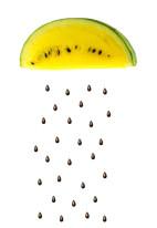 Fototapeta do kuchni 107 - żółty arbuz, owoc tropikalny, pestki, ziarenka, popart
