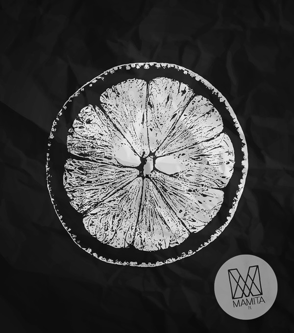 Fototapeta do kuchni 113 - grejfrut, abstrakcja, czarna, szkic, owoc