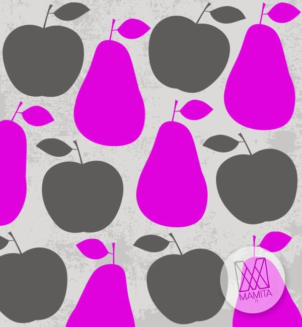 Fototapeta do kuchni 127 - gruszki, jabłka , owoce, fiolety, szarości
