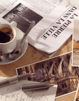 Fototapeta do kuchni 49 - prasa, gazeta, kawa, kawiarnia