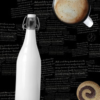 Fototapeta do kuchni 6 - napisy, teksty, butelka retro, ciastka