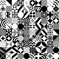 Fototapeta do kuchni 70 - czarno biała mozaika, kafle, kafelki