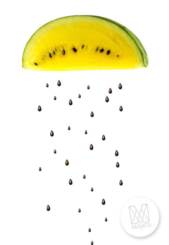 Fototapeta do kuchni 97 - żółty arbuz, żółte owoce,