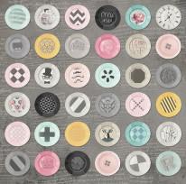 Nowość 1 - Guziki , hipster , talerze , kolorowe , ciemne tło , kolorowe ,