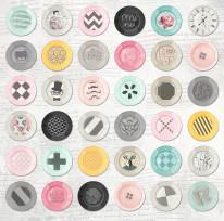 Nowość 3 - Talerze , kolorowe , hipster , guziki , kolaż ,miksacja , jasne tło