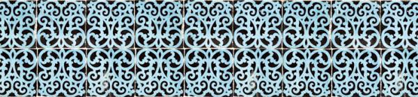 FOTOTAPETA Panorama kuchenna 87 - KAFELKI , BŁĘKITNE , ZAWIJASY , WZORY , PORTUGALIA