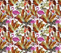 NOWOŚĆ 32- kwiaty, flowers, flamingi, różowe, gucci, motyl, butterfly, summertime, jungle, tropical leaves