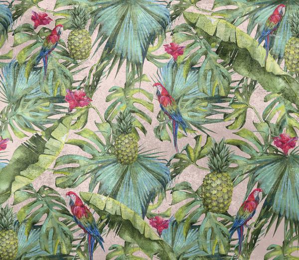 NOWOŚĆ 34- palma, wiosna, papugi, ptak, zielone liście, tropiki, ananas, tropical leaves, jungle, palm leaves