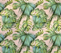 NOWOŚĆ 36- tropical leaves, summertime, liście, jungle, zieleń, tropiki, palma, blady róż