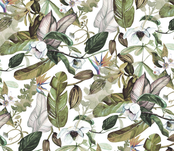 NOWOŚĆ 44- tropical leaves, summertime, liście, jungle, zieleń, tropiki, skrzydłokwiat, white flowers