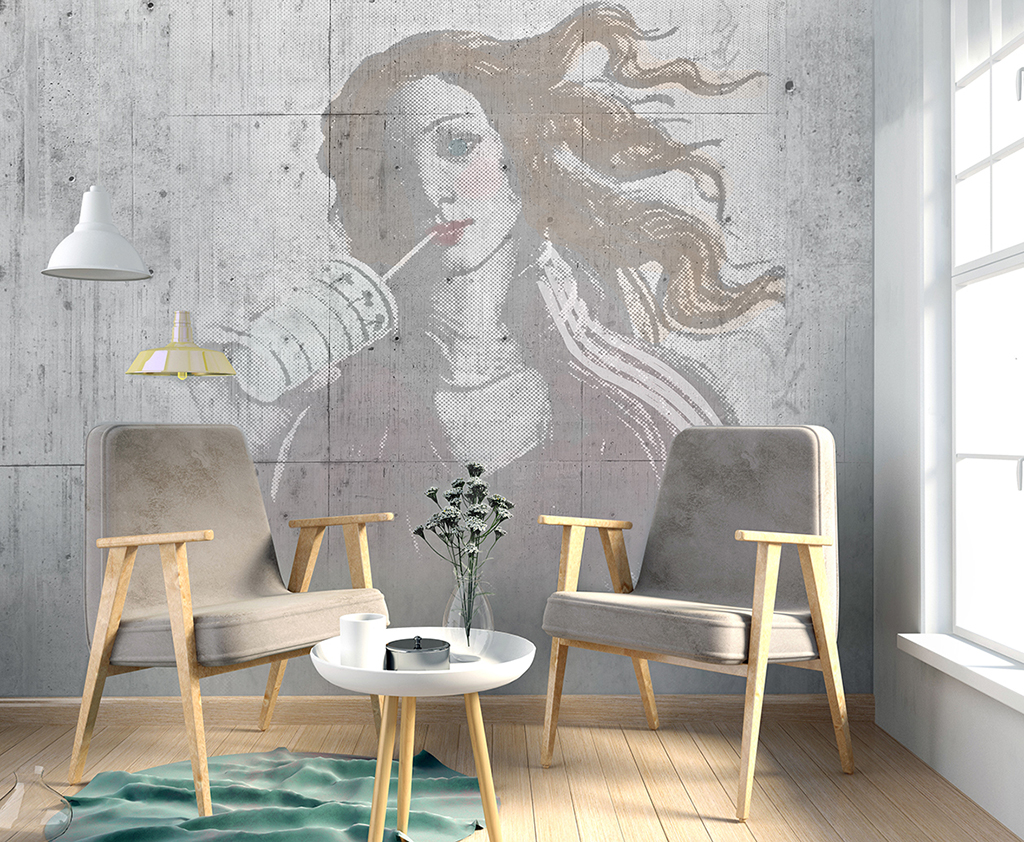 Modern interior with poster and chair. poster mock up. 3d illust