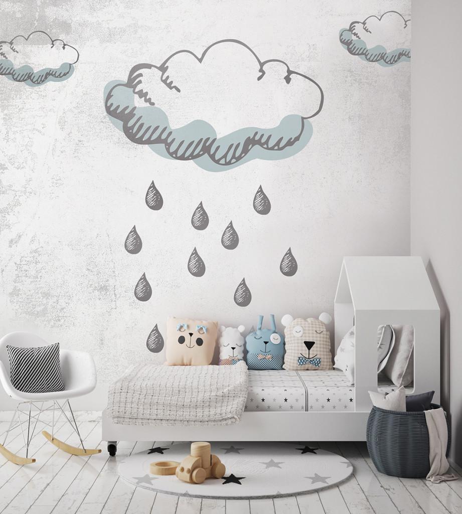 mock up poster frames in children bedroom, Scandinavian style in