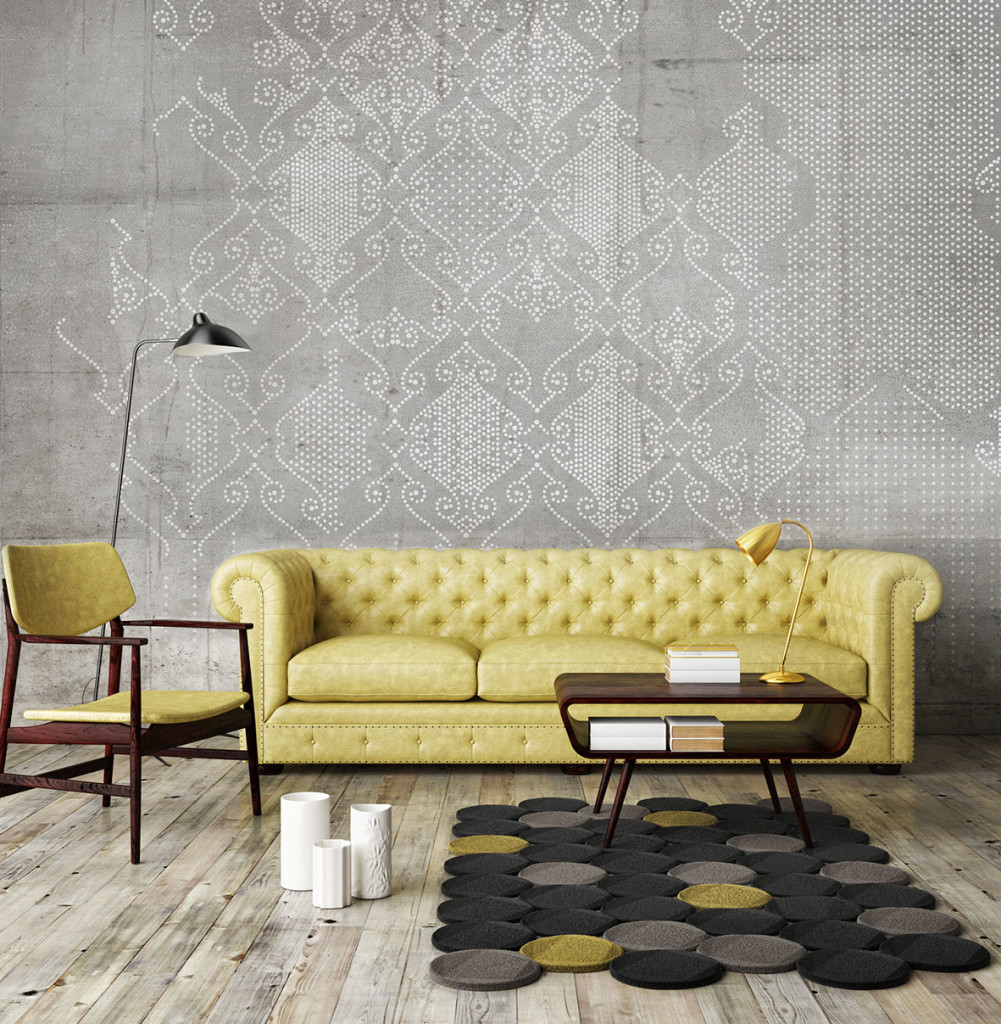 Mock up poster with vintage hipster loft interior background, 3D
