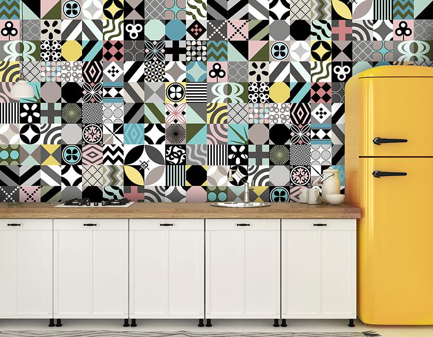 kolorowa mozaika fototapeta do kuchni