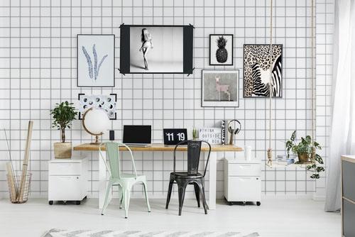 Black chair in workspace interior
