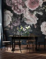 Home interior, luxury modern dark living room interior, black em